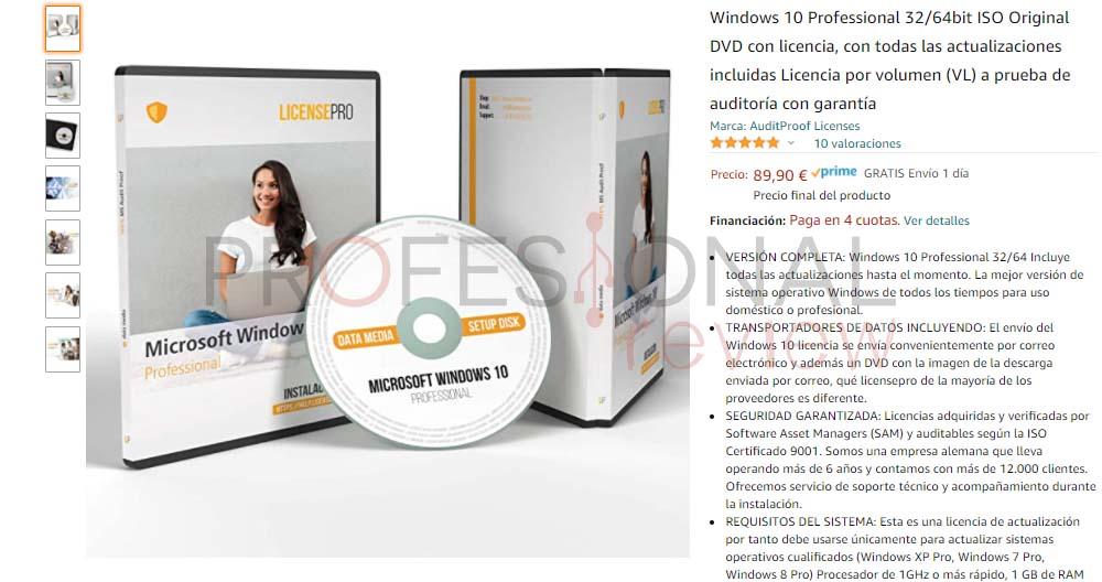 licencias windows 10 dvd-rom