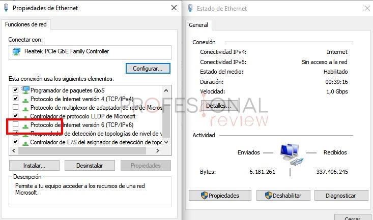 solución ipv6 error 0x80070422