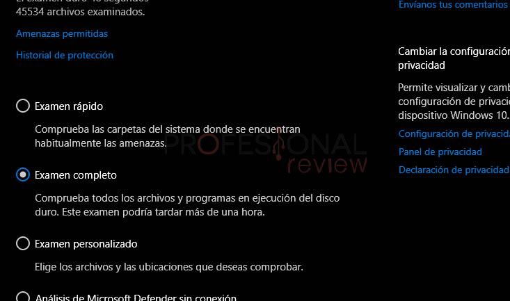 examen antivirus completo windows 10