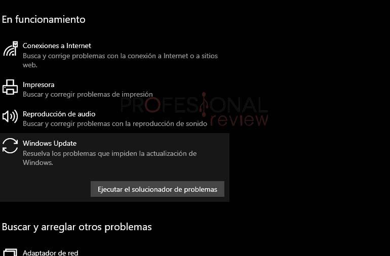 solucionador problemas Windows Update