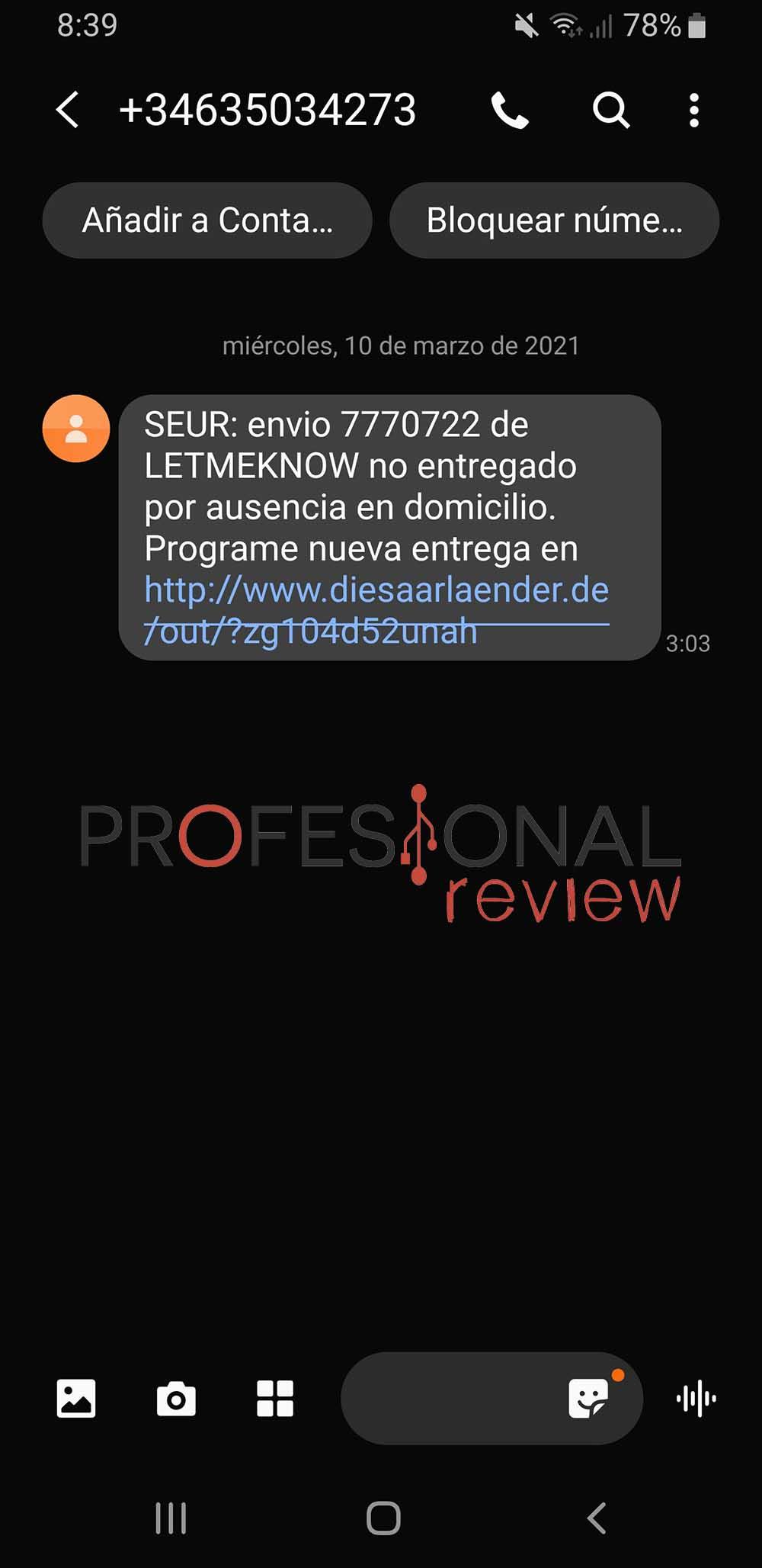 SMS SEUR falso