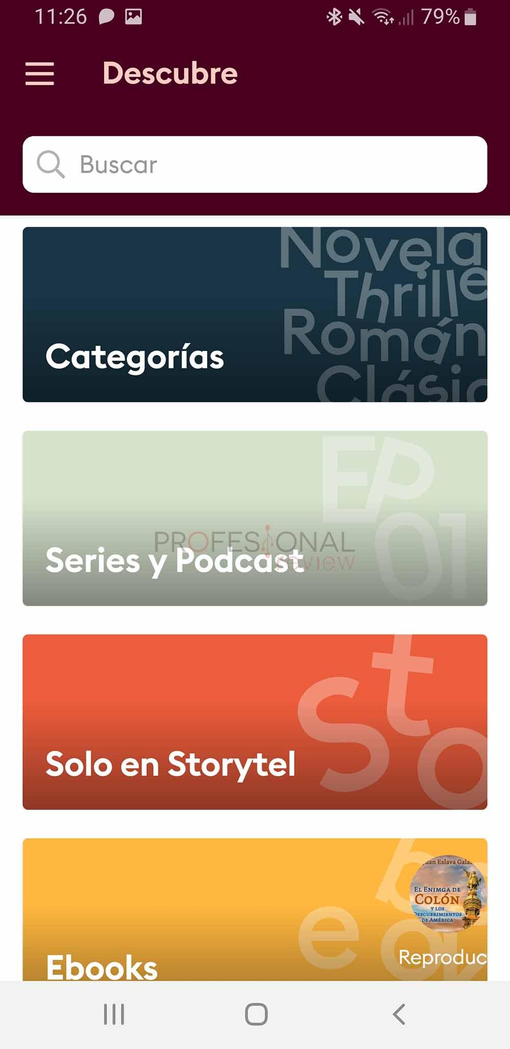categorías storytel
