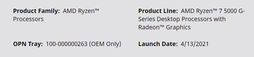 AMD Ryzen 5000G Oem Only