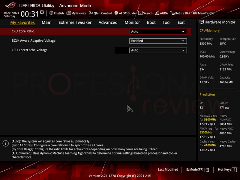 Asus ROG Maximus XIII Extreme Glacial BIOS