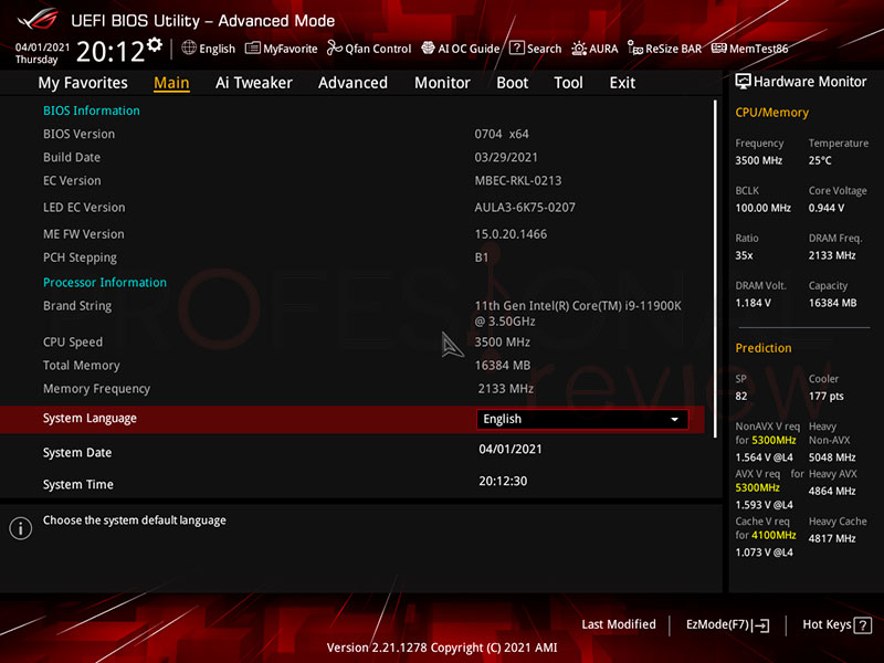 Asus ROG Strix Z590-A Gaming WiFi BIOS