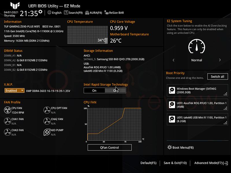 Asus TUF Gaming Z590-Plus WiFi BIOS