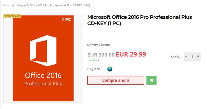 Comprar licencia barata de Windows y Office