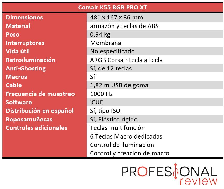 Corsair K55 RGB PRO XT Características