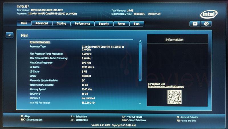 Intel NUC 11 Pro i5 BIOS