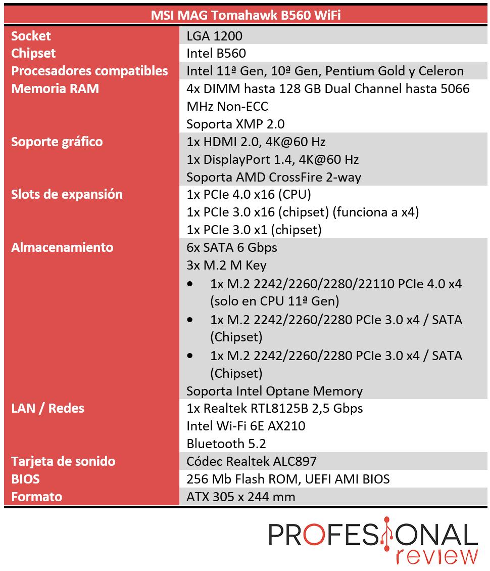 MSI MAG Tomahawk B560 WiFi Características