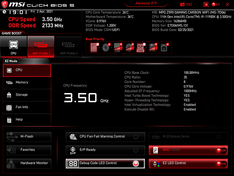 MSI MPG Z590 Gaming Carbon WiFi BIOS
