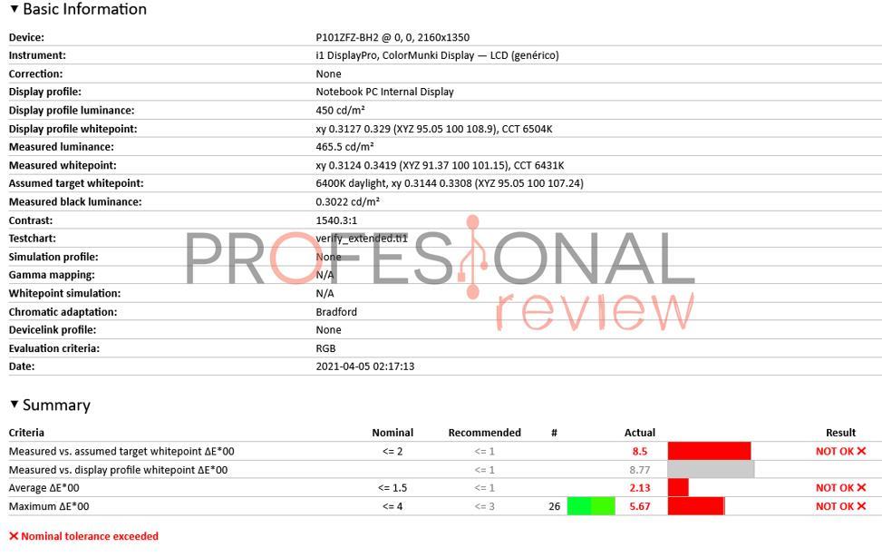 Pre calibracion Lenovo ThinkPad X1 Nano 2