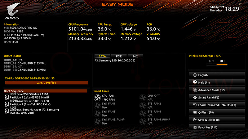 Z590 AORUS Pro AX BIOS