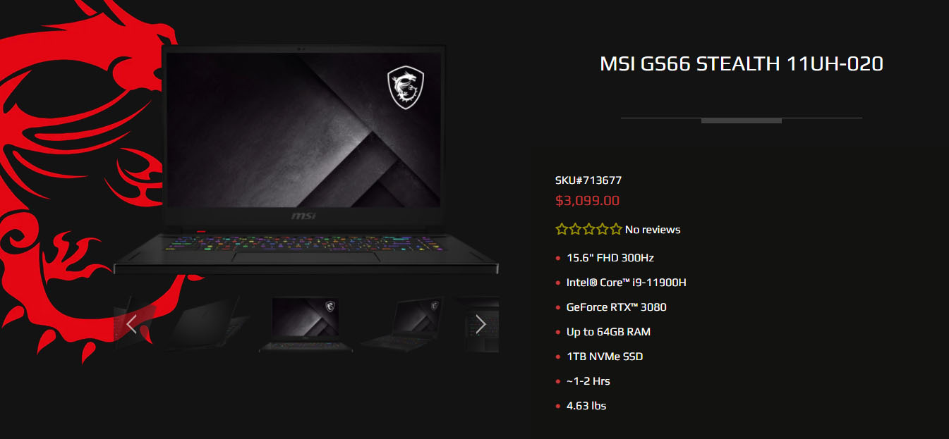 MSI GS66 Stealth 11UH-020
