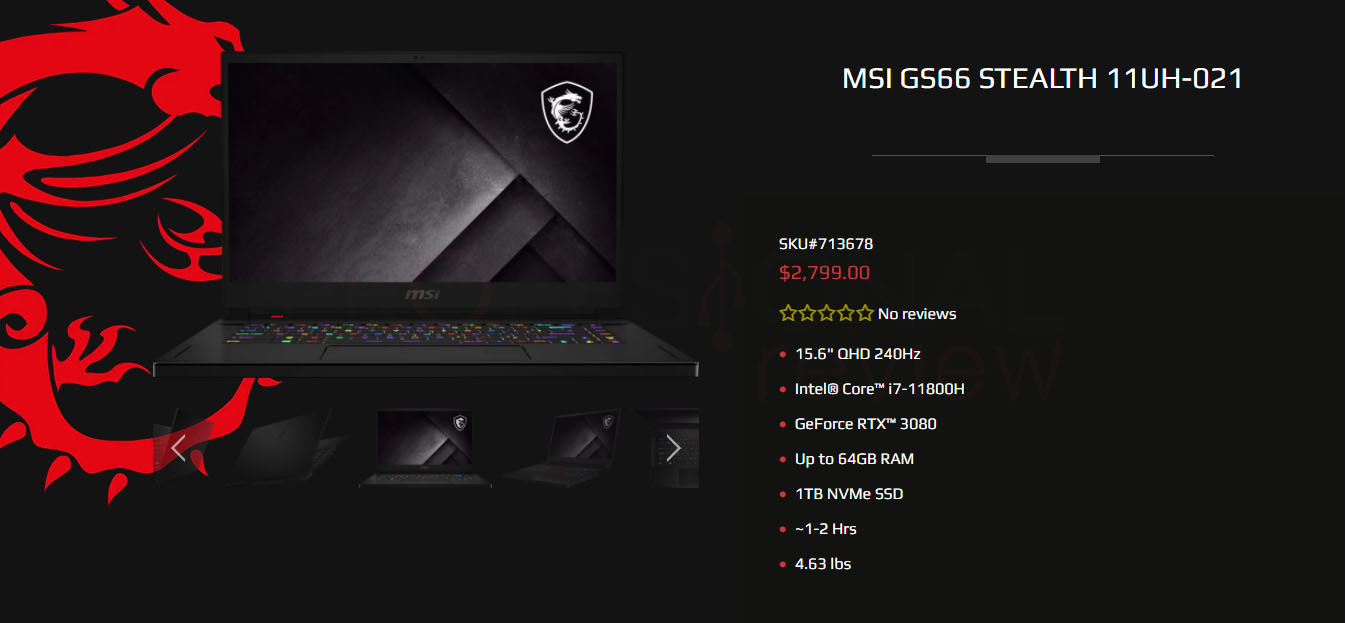 MSI GS66 Stealth 11UH-021