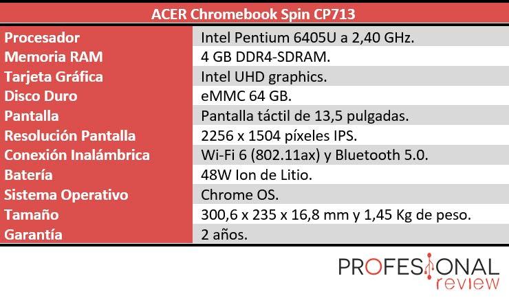 Acer Chromebook Spin 713 caracteristicas tecnicas
