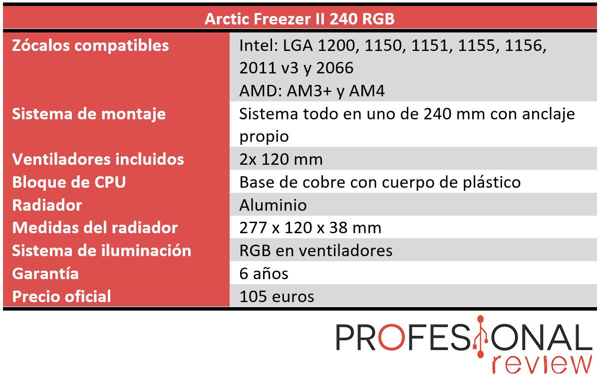 Arctic Liquid Freezer II 240 RGB Características