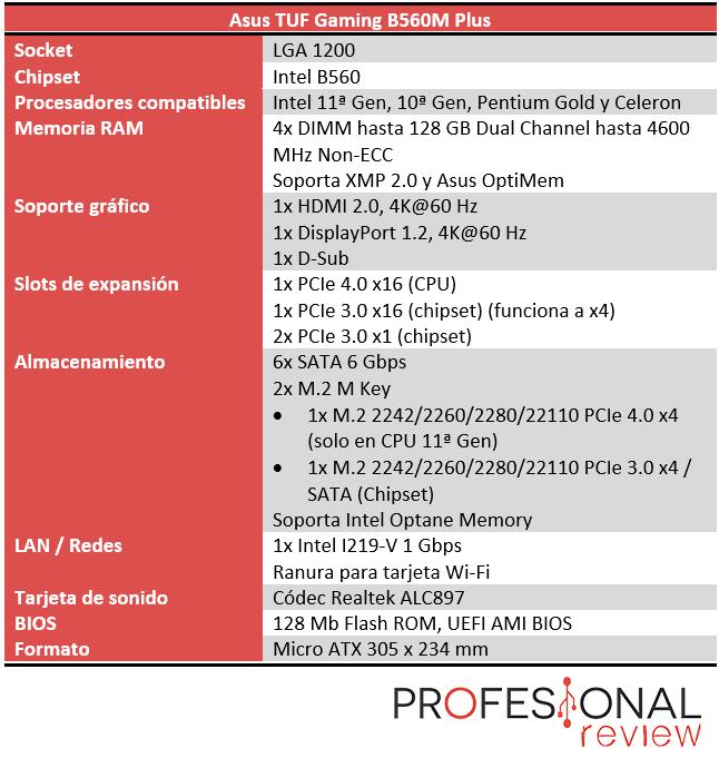 Asus PRIME B560 Plus Características