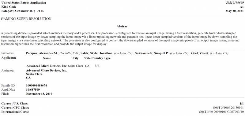 Gaming Super Resolution patente amd