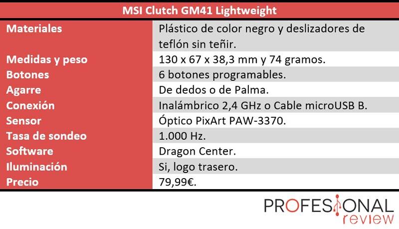 MSI Clutch GM41 Lightweight especificaciones técnicas