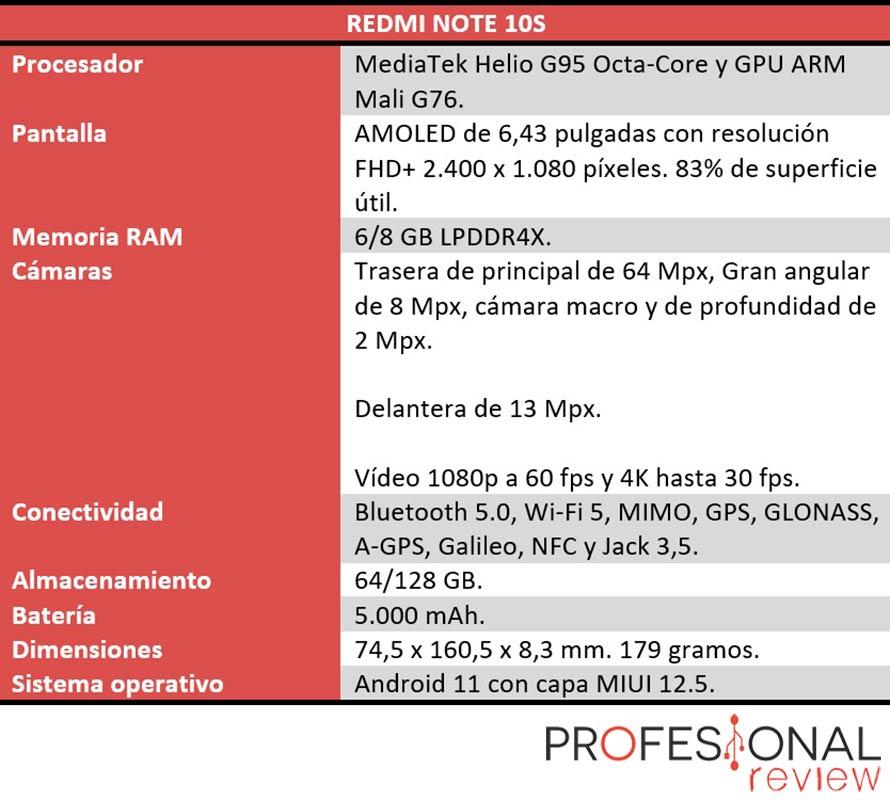 Redmi Note 10S características tecnicas
