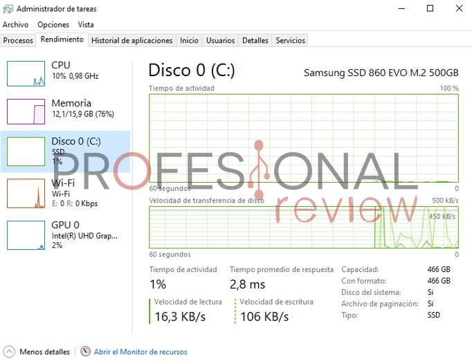 Administrador de tareas SSD HDD