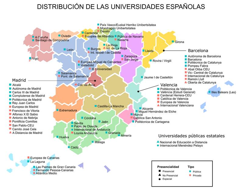 Distribución universidades españolas