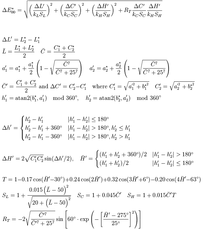 Formula Delta E CIE 2000