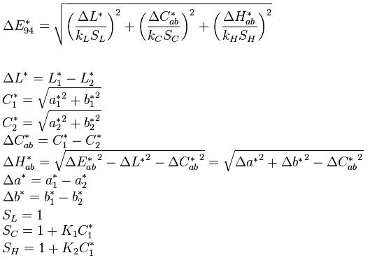 Formula Delta E CIE 94