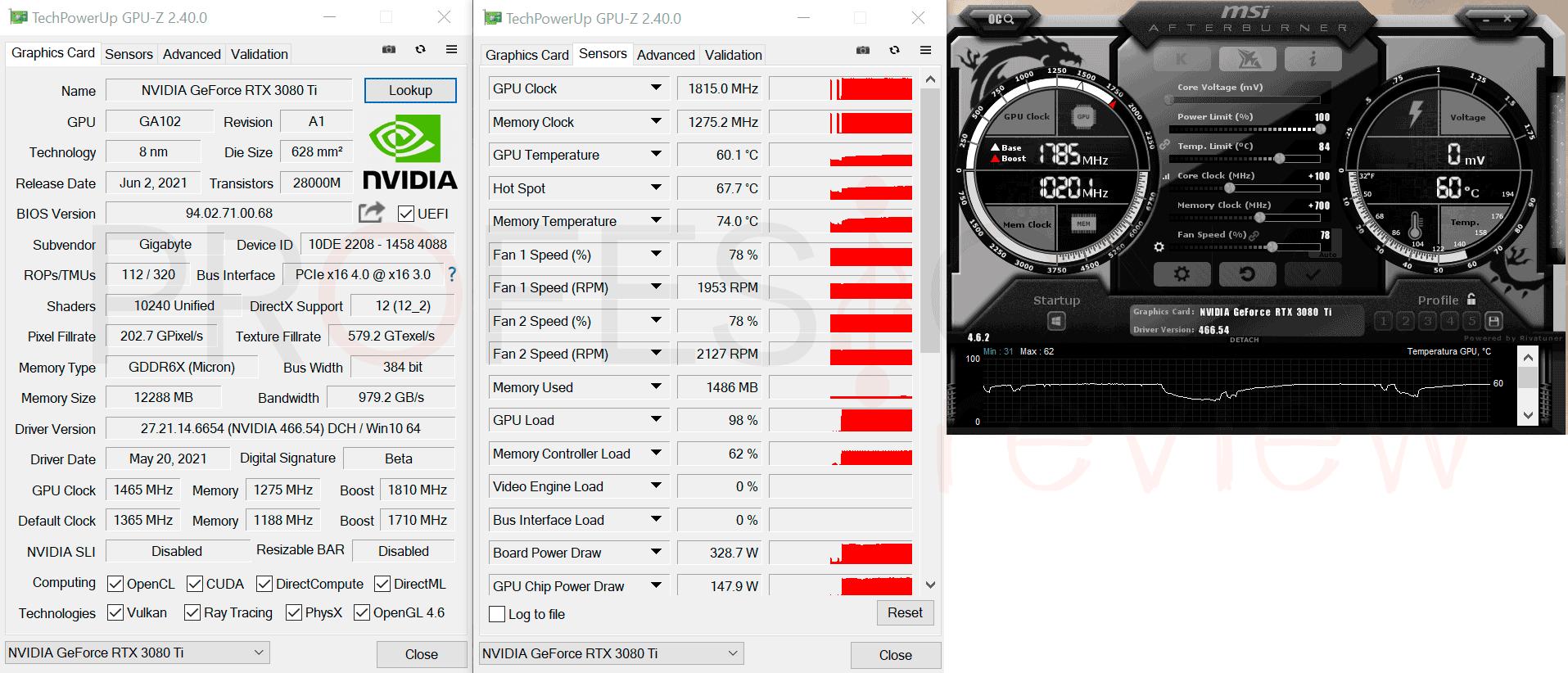 Gigabyte RTX 3080 Ti Gaming OC 12G Overclocking