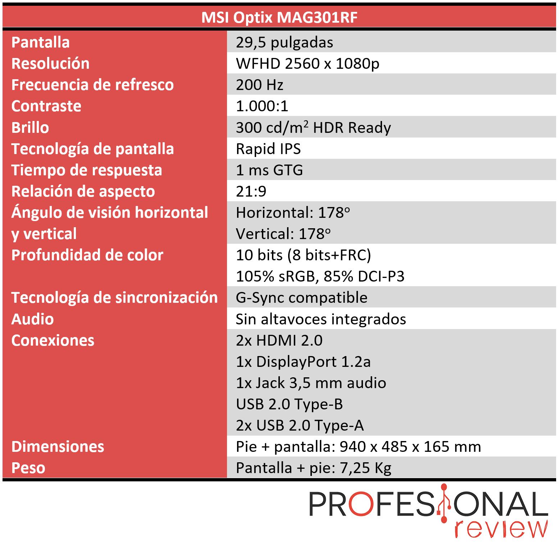 MSI Optix MAG301RF Características
