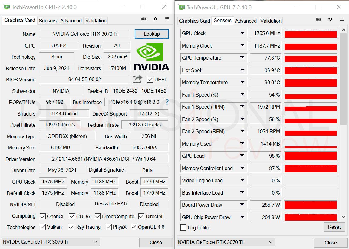 Nvidia RTX 3070 Ti GPU-Z