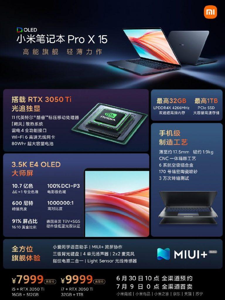especificaciones portatil xiaomi