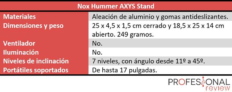 Nox Hummer AXYS Stand características tecnicas