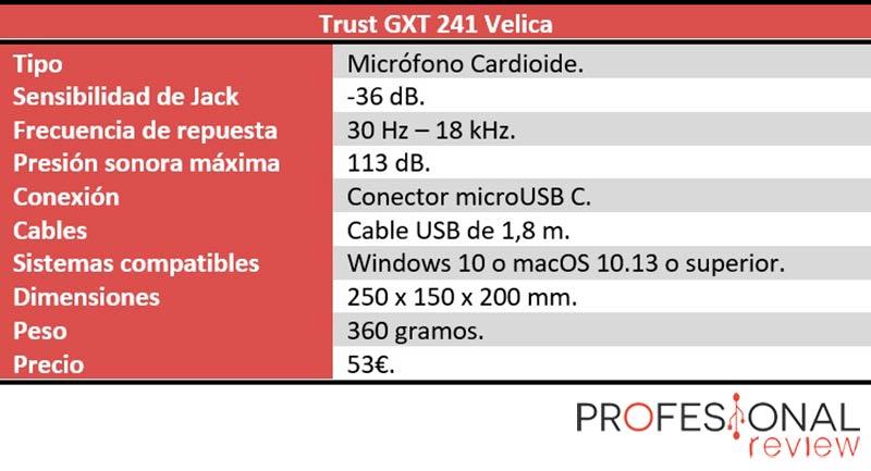 Trust GXT 241 Velica características técnicas