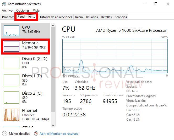 Administrador de tareas ver RAM