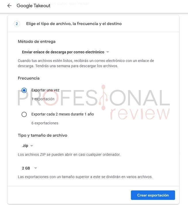 Exportacion Google Takeout