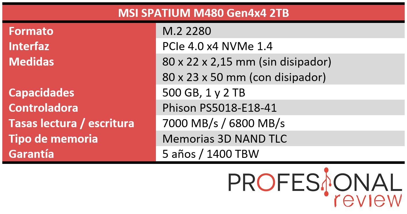 MSI SPATIUM M480 Características