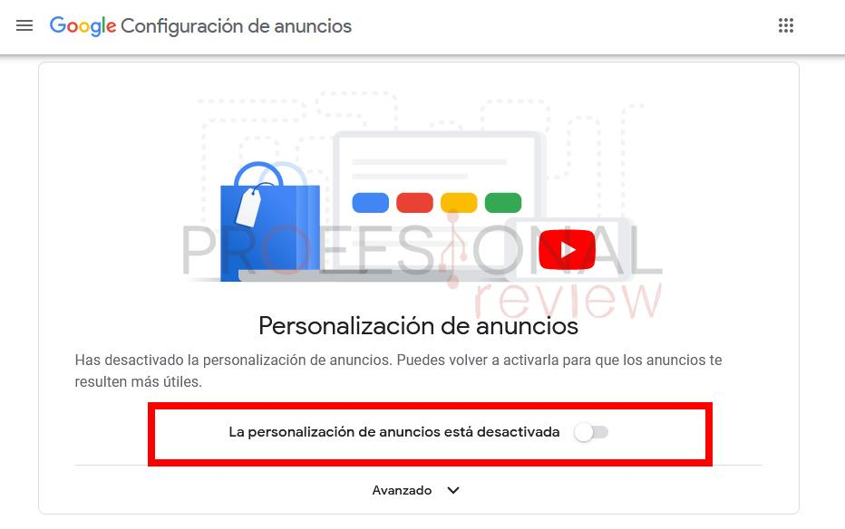 Personalizacion de anuncios Google