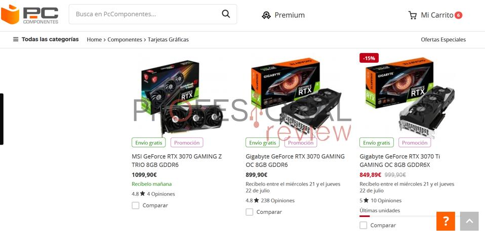 Tienda donde comprar tarjeta grafica PCComponentes
