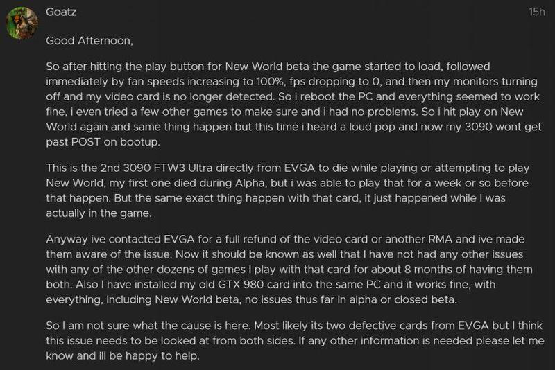 amazon new world problena nvidia rtx 3090