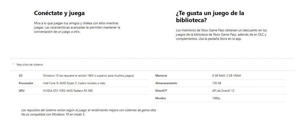 requisitos xbox game pass