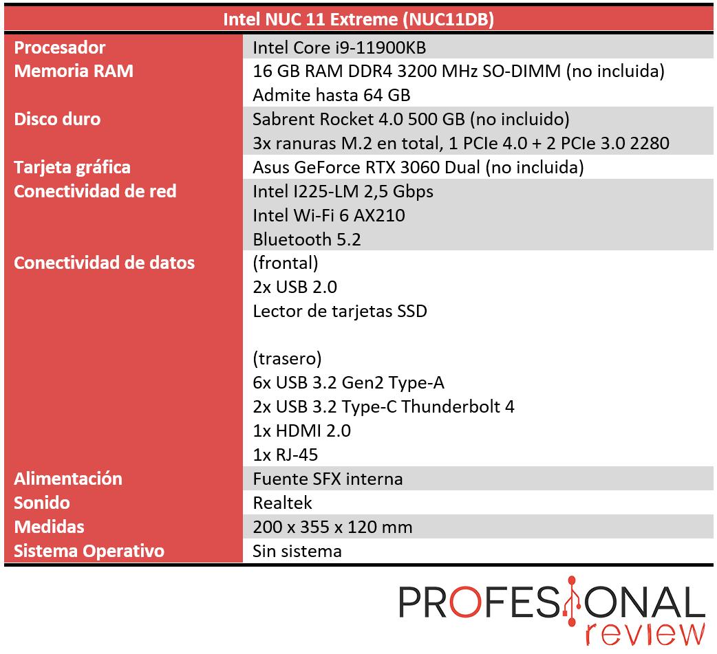 Intel NUC 11 Extreme Características