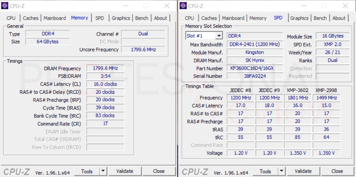Kingston FURY Renegade RGB DDR4 CPU-Z