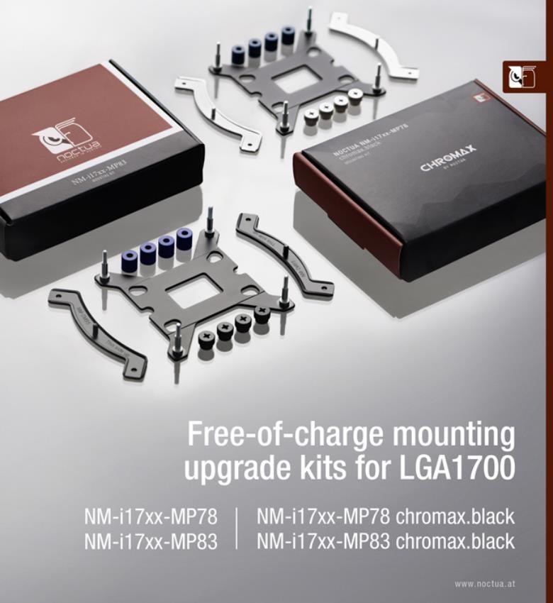 Noctua anuncia kits de montaje para socket LGA1700