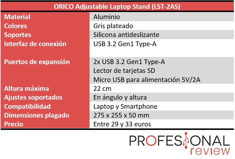 ORICO Adjustable Laptop Stand Características