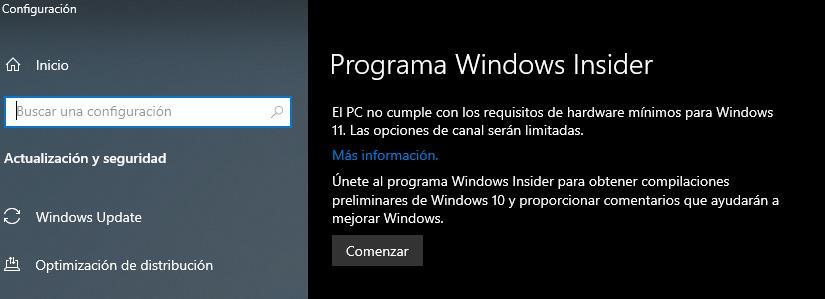 Windows Insider incompatible con Windows 11