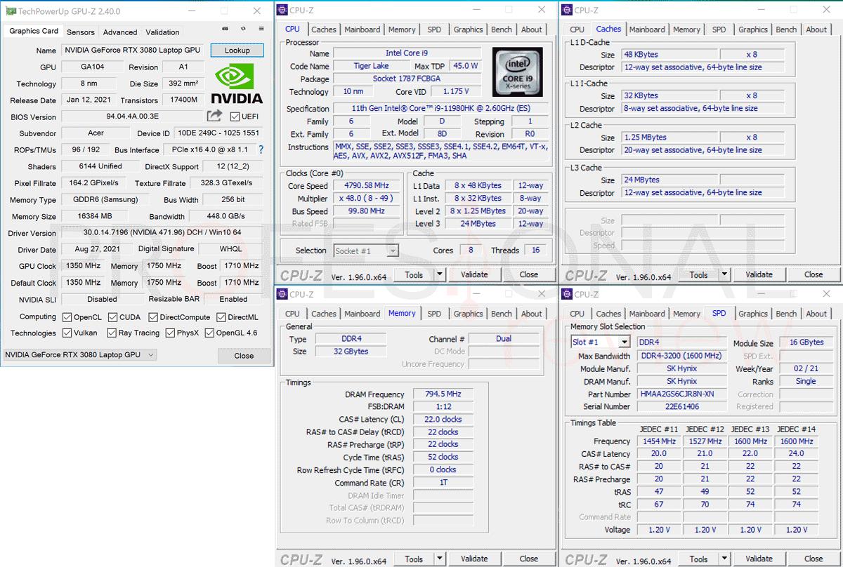Acer Predator Helios 500 2021 CPU-Z