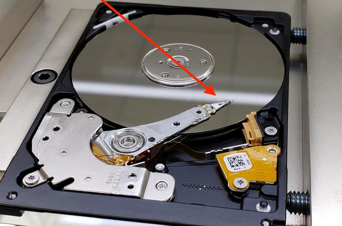 Cabezal de un HDD atascado