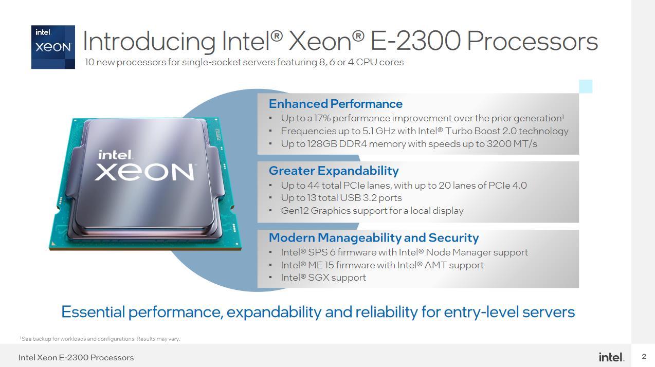 Intel Xeon E-2300 caracteristicas